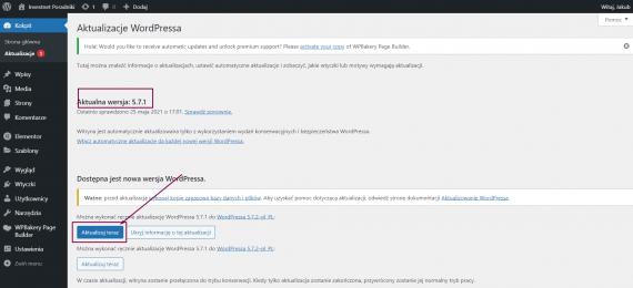 Aktualizacja wersji WordPress