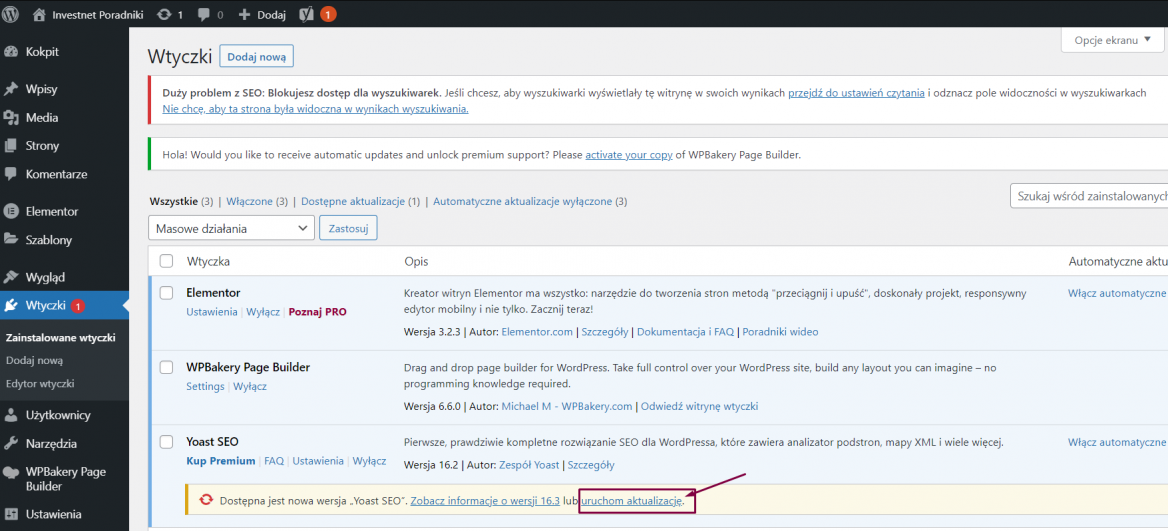 Aktualizacja wtyczek w WordPress