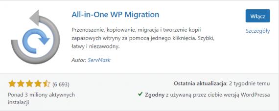 Instalacja wtyczki All in One WP Migration