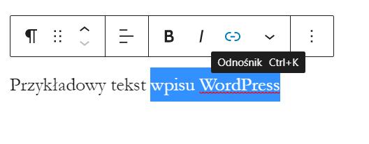Dodawanie linku w edytorze treści WordPress