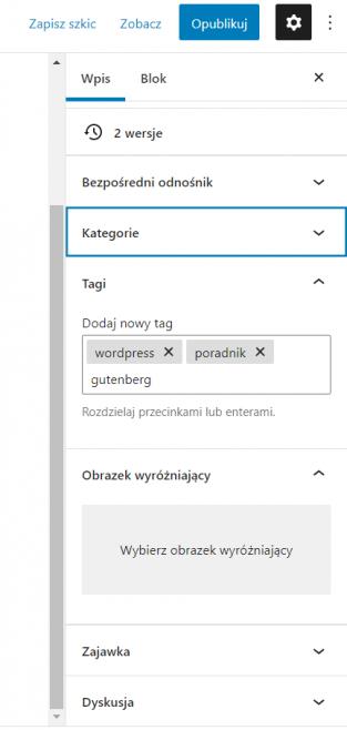 Dodawanie tagów WordPress
