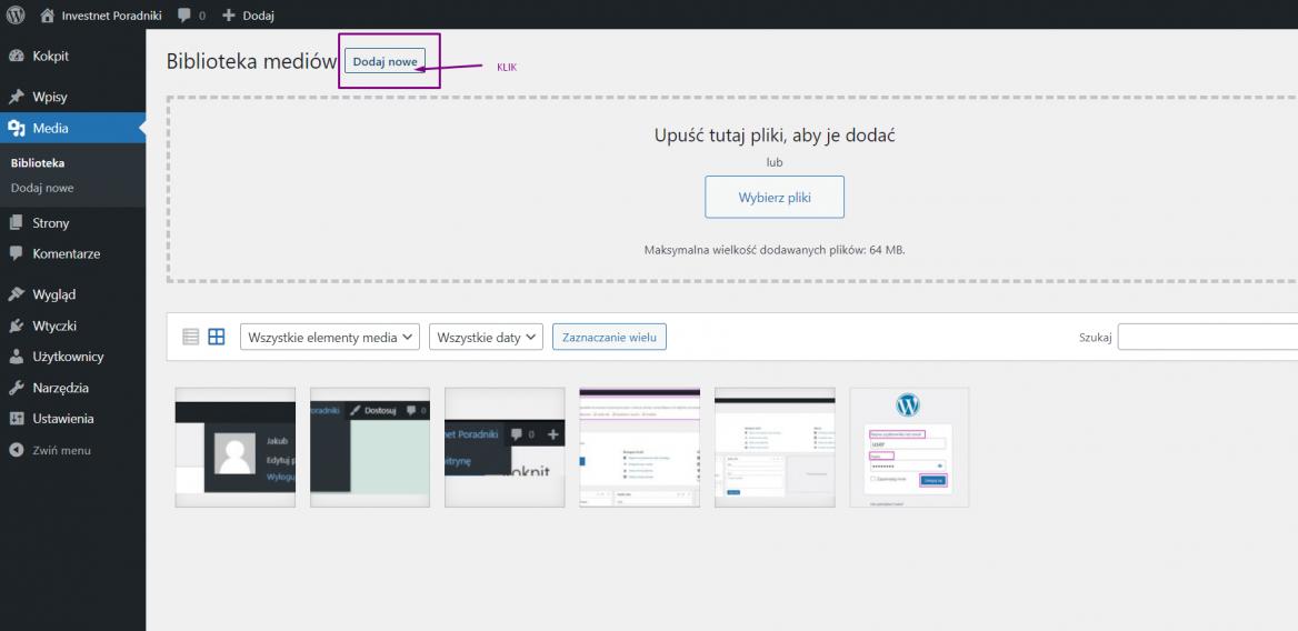 Dodawanie obrazu do biblioteki multimediów w WordPress