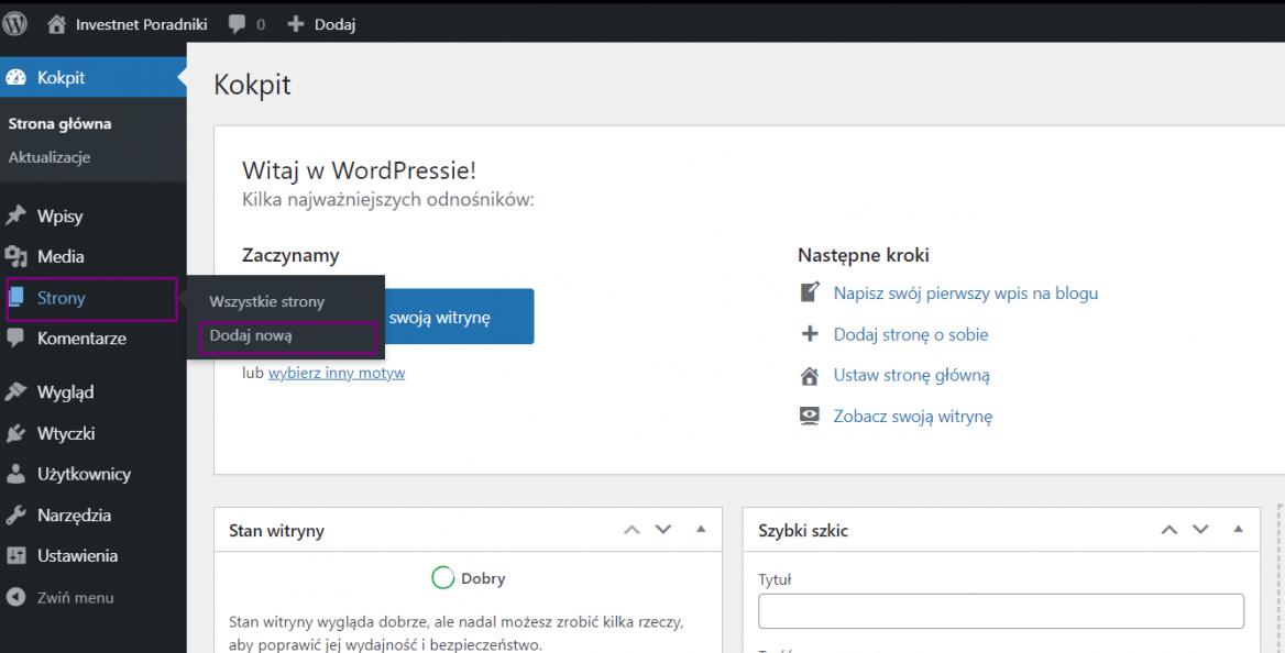 Dodawanie nowej podstrony w WordPress