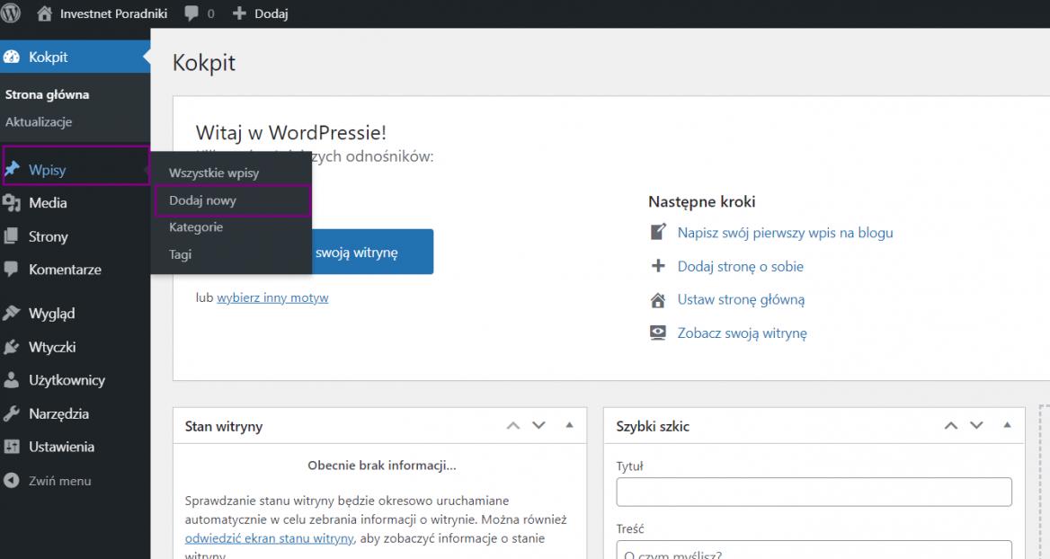 Dodawanie nowego wpisu w WordPress