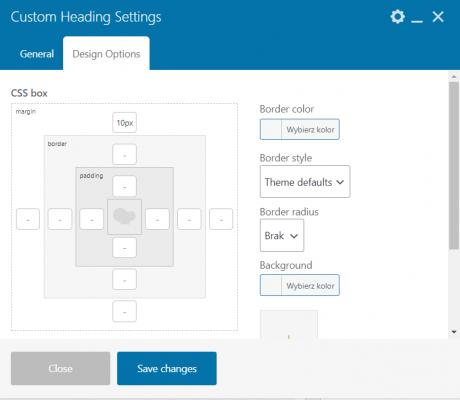 Okno edycji widżetu WPBakery Page Builder - Design Options