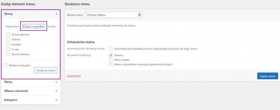 Dodawanie stron do menu WordPress