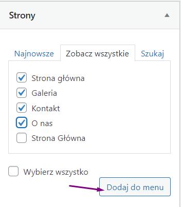 Jak dodać strony do menu WordPress