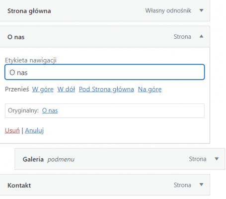 Zmiana nazwy strony w menu